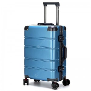 Durable Solid Color Luggage Case Aluminum Alloy Frame Trolley Mute Wheel Comfortable Handle with Password Lock