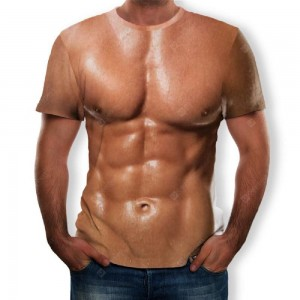 3D Summer New Personality Abdominal Muscle Printing Men's Short-Sleeved T-shirt