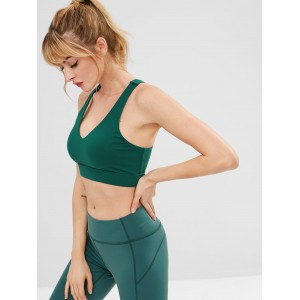 Lace Up Racerback Sports Bra - Dark Green L