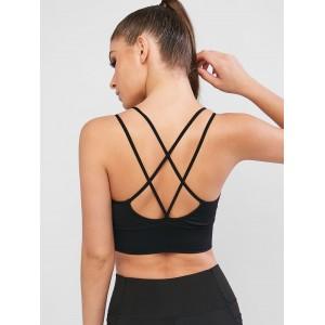 Criss Cross Rib-knit Hem Pullover Sport Bra - Black M