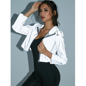 Crop Hooded Windbreaker Reflective Jacket - Gray M