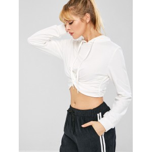 Twisted Crop Hoodie - White M