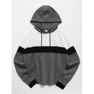 Color Block Perforated Pocket Gym Hoodie - Multi L
