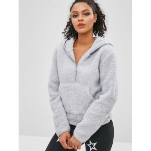 Faux Fur Zipper Kangaroo Pocket Hoodie - Light Gray L