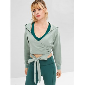Drop Shoulder Wrap Short Hoodie - Blue Green S