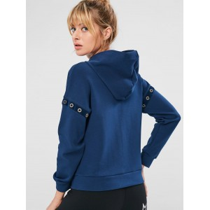 Eyelet Zipper Drop Shoulder Jacket - Cadetblue S