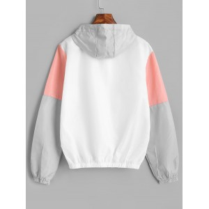 Color Block Sport Drawstring Hooded Windbreaker Jacket - Multi S