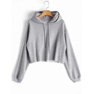 Cropped Drop Shoulder Pullover Hoodie - Gray S