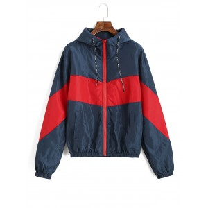 Color Block Hooded Pocket Windbreaker Jacket - Multi L