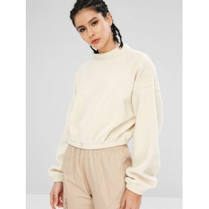 Casual Drop Shoulder Fluffy Sweatshirt - Warm White S