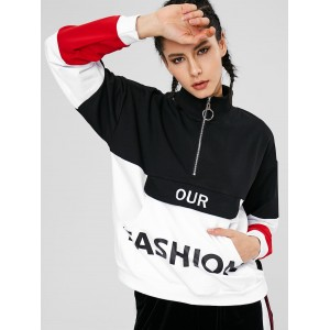 Color Block Pouch Graphic Sports Sweatshirt - Black L