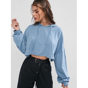 Batwing Oversized Drop Shoulder Crop Hoodie - Cornflower Blue