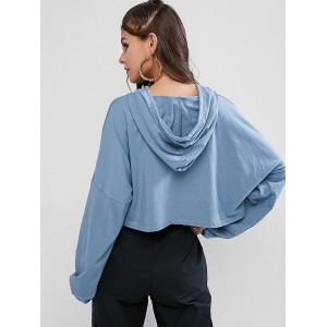 Batwing Oversized Drop Shoulder Crop Hoodie - Cornflower Blue
