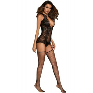 Beautiful Hollow-out Floral Netted Bodystocking