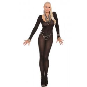 Black Foxy Babe Long Sleeve Bodystocking