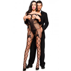Beautiful Open Cup Fishnet Off-shoulder Bodystocking with Bow