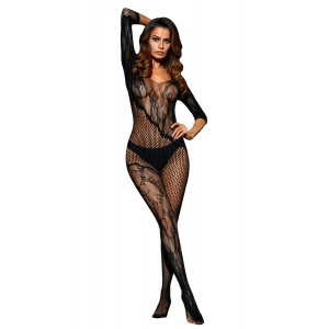 Black Asymmetric Lace Mesh Body Stocking