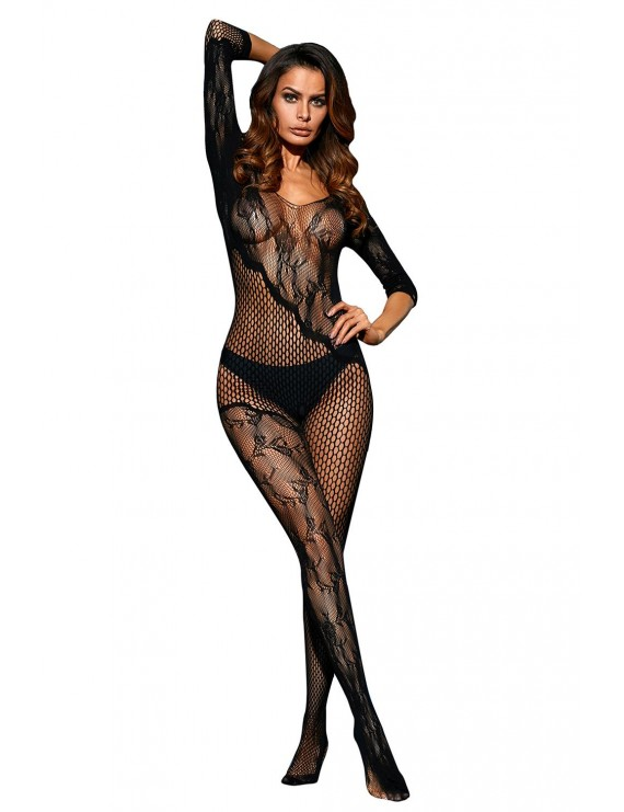 Black Asymmetric Lace Mesh Body Stocking