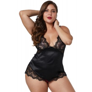 Black Lace Cups Silky Satin Plus Size Chemise
