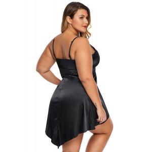 Black Lace V Neckline Plus Size Babydoll