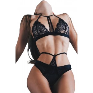Black Eyelash Lace Intimate 2pcs Lingerie Set