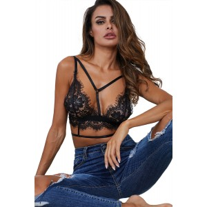 Black Eyelace Trim Lace Bralette