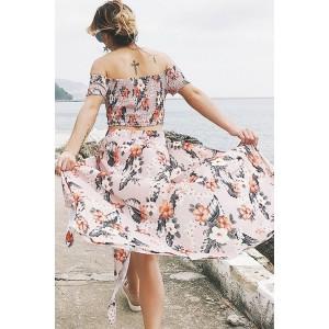Light Pink Off Shoulder Floral Backless Slit Sexy Two Piece Maxi Dress