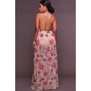 Light Pink V Neck Floral Embroidered Backless Convertible Maxi Dress