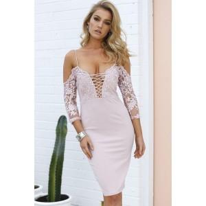 Light Pink Spaghetti Straps Lace Crisscross Half Sleeve Bodycon Party Dress