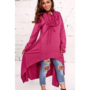 Cowl Neck Hooded Kangaroo Pocket Asymmetric Sweatshirt Dress