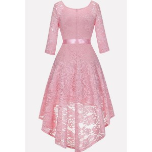 Pink Floral Lace Tied V Neck Chic High Low Dress
