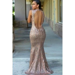 Backless Sequin Mermaid Maxi Party Dress