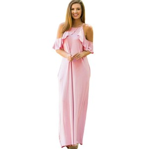 Light Pink Cold Shoulder Ruffled Pocket Decor Casual Maxi Slip Dress