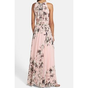 Pink Floral Printed Chiffon Maxi Dress