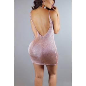Pink Crochet Plunging Spaghetti Straps Backless Sexy Bodycon Club Dress
