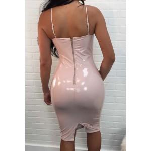 Light Pink Faux Leather Spaghetti Straps Slit Back Bodycon Club Dress