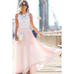 Lace Crochet Mesh Pleated Sleeveless Maxi Party Dress