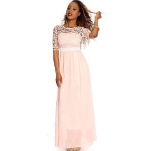 Light Pink Lace Overlay Chiffon Maxi Dress
