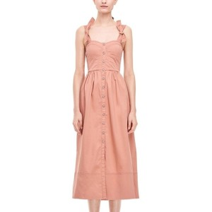 Pink Bow Knotted Buttons Up Backless Shirred Sexy A Line Dress