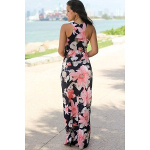 Light Pink Floral Print Sleeveless Racer Back Casual Maxi Dress