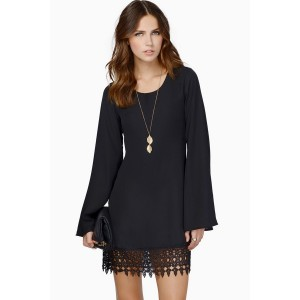 Black Crochet Lace Hem Long Sleeve Chiffon Dress