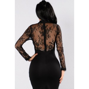 Black Floral Lace Long Sleeve Cutout Halter Sexy Bodycon Dress
