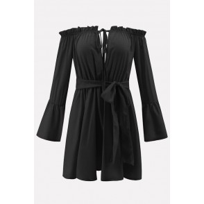 Black Off Shoulder Tied Flare Sleeve Sexy Mini Dress
