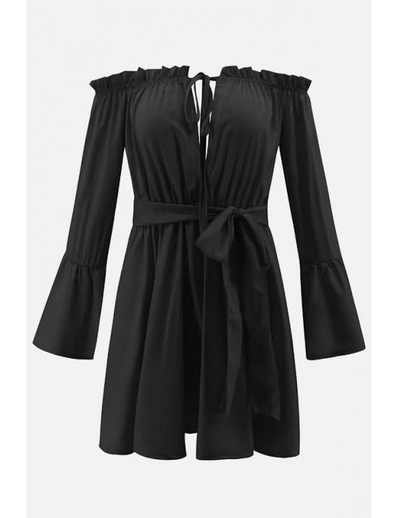Black Off Shoulder Tied Flare Sleeve Beautiful Mini Dress