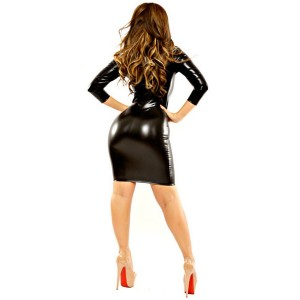 Black Faux Leather V Neck Bodycon Dress