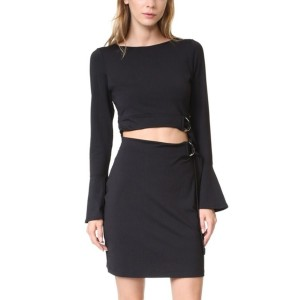 Black Cutout Belted Flare Long Sleeve Sexy Party Dress
