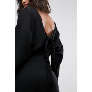 Black Long Sleeve Boat Neck V Back Knotted Bodycon Dress