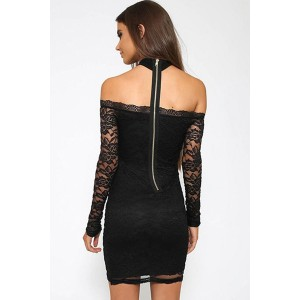 Black Choker Lace Long Sleeve Zipper Back Sexy Bodycon Party Dress
