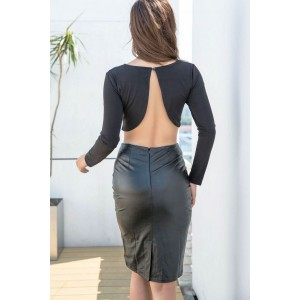 Black Faux Leather Backless Long Sleeve Sexy Bodycon Two Piece Dress