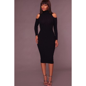 Black Cold Shoulder Long Sleeve Bodycon Midi Dress